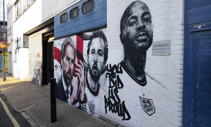 Peinture murale de Southgate, Kane et Sterling