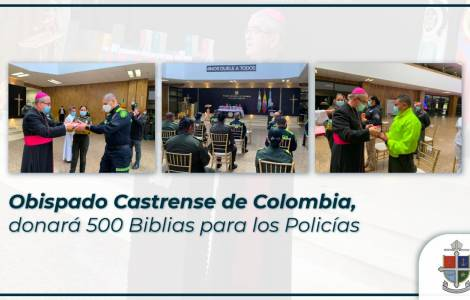 United States / Colombia - Bishop Castrans donates 500 Bibles to National Police