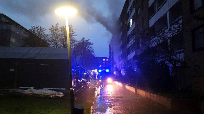 Eksplosjon og brann i Göteborg.