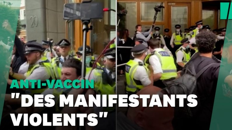 Several police officers were injured in a clash against vaccines in London