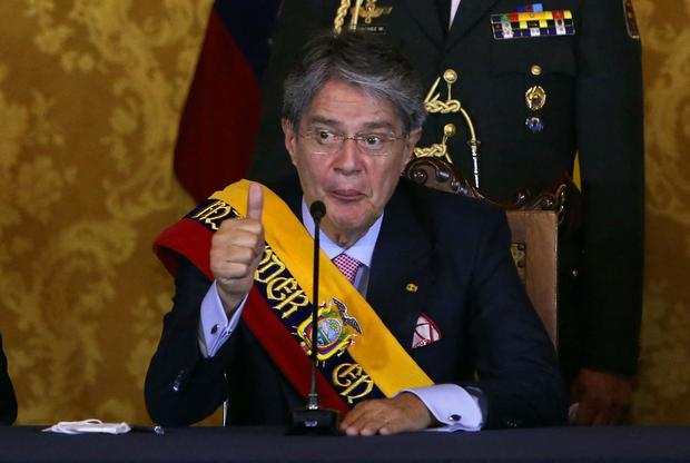 Ecuadorian President Guillermo Lasso is mentioned in the Pandora Papers.  (Christina Vega Roar / AFP).