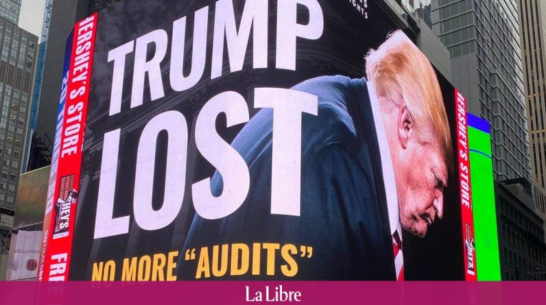 A large billboard erected in Times Square speaks of it