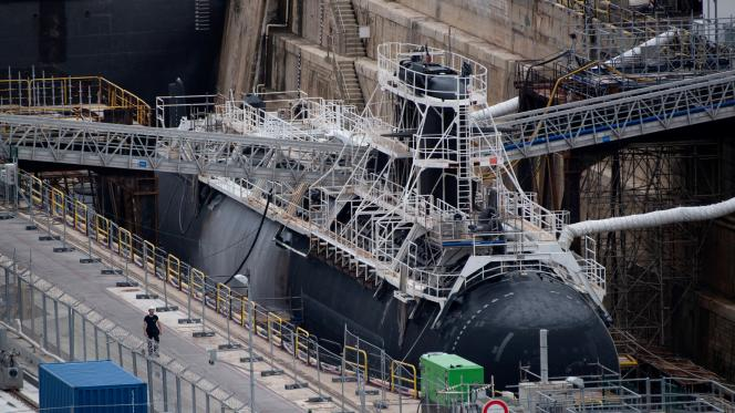 French naval nuclear attack submarine at the Dulone naval base, June 12, 2020.