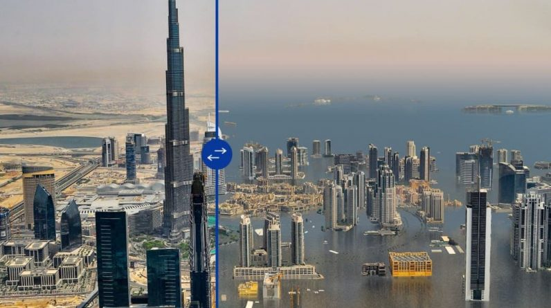 How about Nice, Dubai, London with rising water?