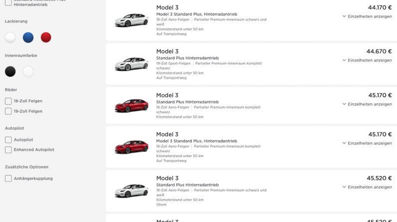tesla website model-3 standard plus akku